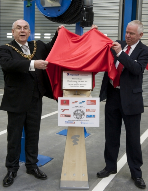 The unveiling of the plaque at Sharston depot