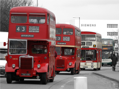 Four bus from Manchester Corporation up to Stagecoach Manchester
