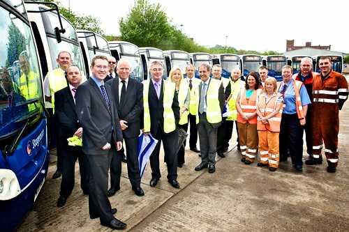 Andrew Gwynne MP, Chris Bowles, staff 15 new Enviro 200s