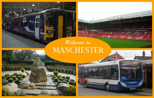 A postcard of Manchester attraction and buses