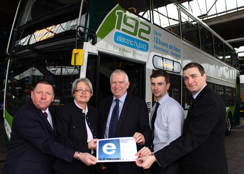 (L-R) Stagecoach Manchester's Environmental Officer, Bill Priday, Councillor Sue Derbyshire, Stagecoach Manchester's, MD, Christopher, Stockport Depot's Operations Manager, David Frenz and Councillor Stuart Bodsworth with the Environmental Business Pledge Award.