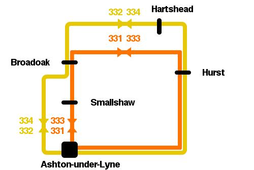 The Ashton Circular routes, as seen in 1974.