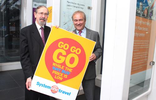 Any Bus Will Do: Andrew Fender and Richard Soper seen promoting the joys of the Buscard. (© 2013 Tangerine PR Ltd)