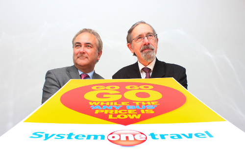 Richard Soper and Andrew Fender, seen with a poster promoting System One's travelcard cuts. (© 2013 Tangerine PR Ltd)