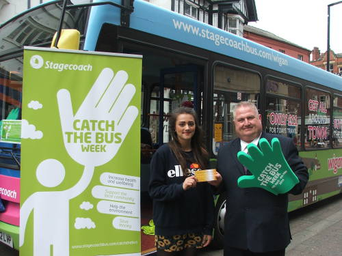 Golden Ticket Winner Saira Hillyard, at a Meet the Bus event in Wigan, Lancashire.