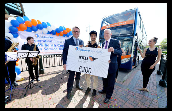Photograph by Peter Powell.    13-05-2015. This is Baktash Noori who is the 4 millionth Customer on the Stagecoach Service X50.