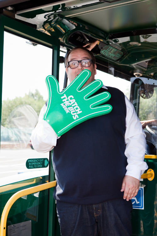 Justin Moorhouse and a big green rubber hand.