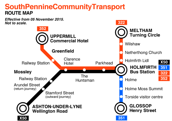 South Pennine Community Transport Metro style map.