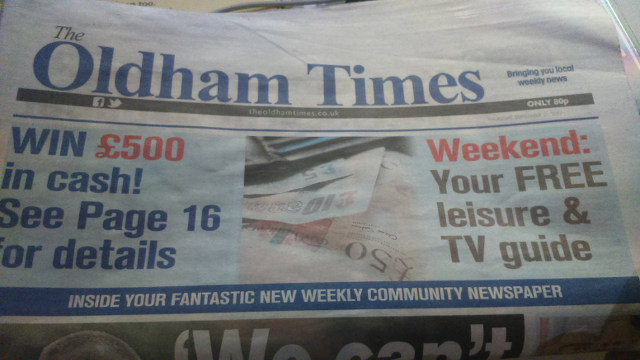 The Oldham Times' first edition.