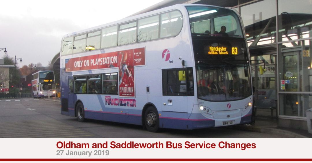 Oldham and Saddleworth Bus Service Changes, 27 January 2019.