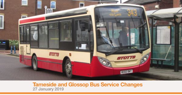 Tameside and Glossop Bus Service Changes (27 January 2019) graphic