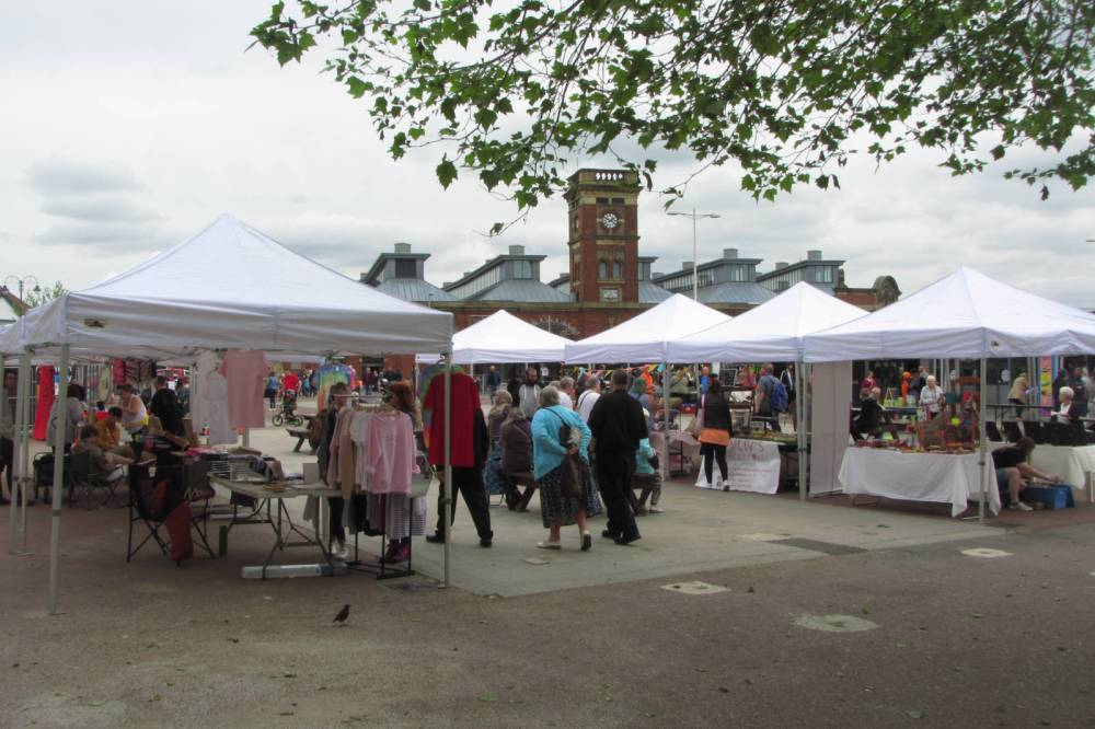 Ashton Open Market, during the Tameside Young Traders' Market, 25 May 2019.