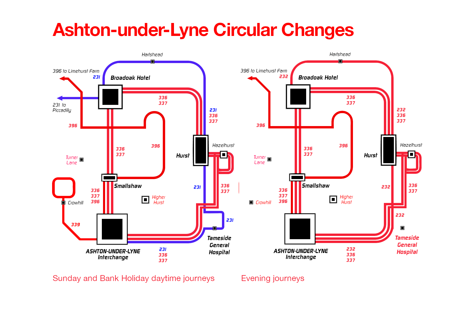 Ashton-under-Lyne circular changes map (evening, Sunday, and Bank Holiday journeys).
