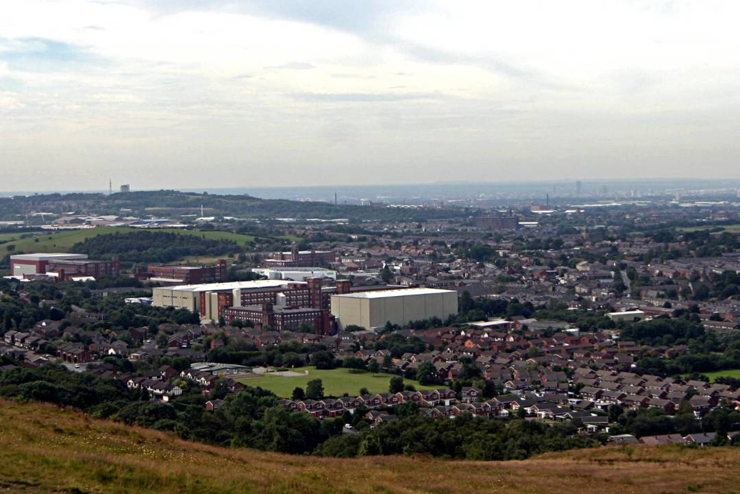 Shaw, Royton, Oldham and Manchester from Crompton Moor by Michael Ashton, 01 August 2007