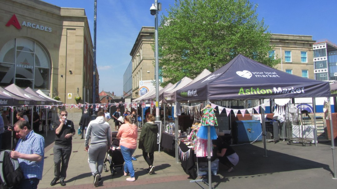 Arcades Shopping Centre and open market
