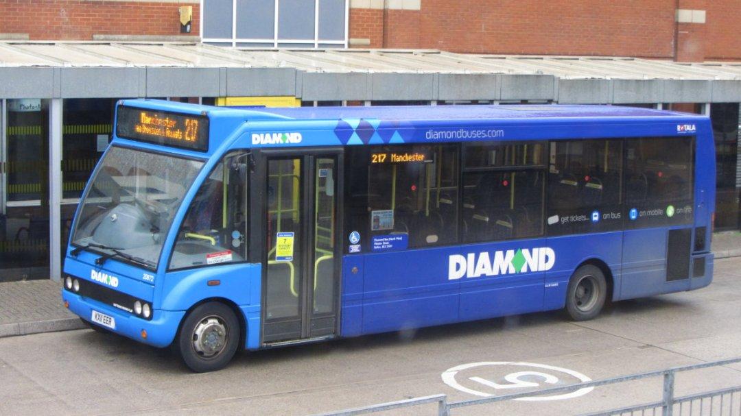 Diamond Bus North West Optare Solo, KX11 EER, Ashton-under-Lyne Bus Station (Mark III).
